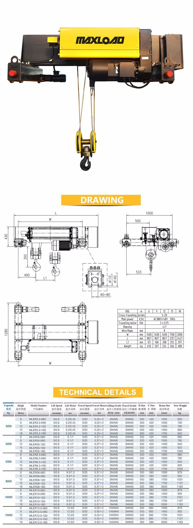 5 Ton Double Girder Wire Rope Electric Hoist Mler05 06d China International 1700 Wiring Diagram Hook With Safety Card As The Standard Configuration By Special Mold And Adopt High Strength Slippery To Reduce Damage