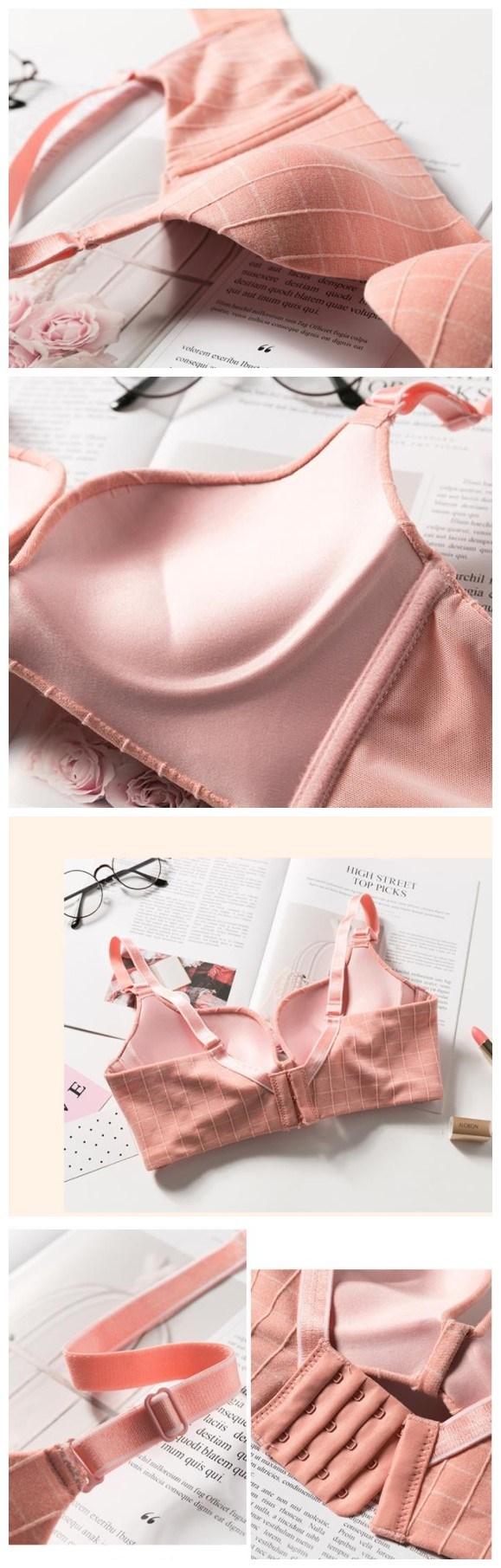 71e52d271 Sutiã de algodão sem costura Plaid adorável Senhoras Lingeries mulheres  roupas íntimas -Modle mostra- Detalhes de produtos --
