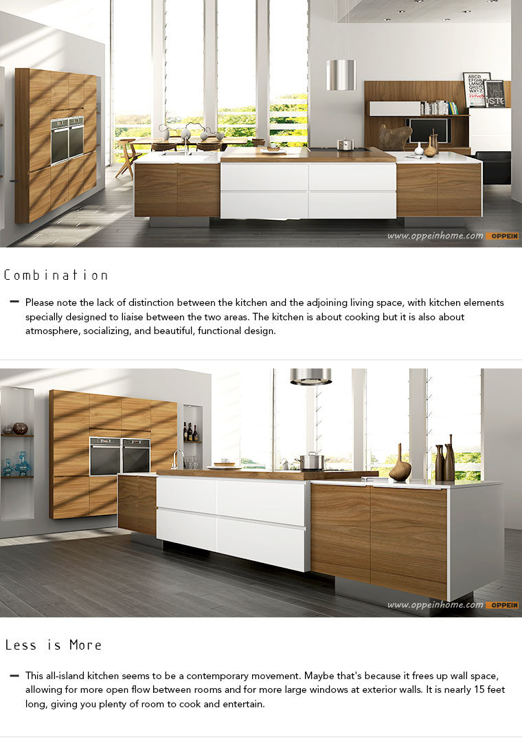 Oppein Modern All-Island Design PVC Wood Kitchen Cabinets (OP16 ...