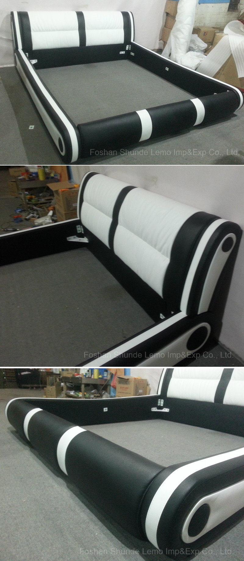 El rey blanco moderna cama de cuero para muebles de dormitorio ...