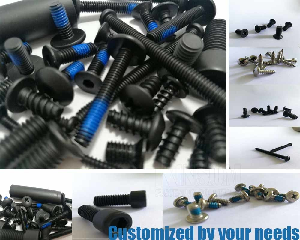 Special Stainless Steel 304 Knurled Six Lobe Flange Bolt with Blue Nylock Nylon Coating