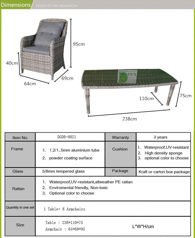등나무 고리 버들 세공 안뜰 가구 정원 식탁 고정되는 Dgd8-0021 ...