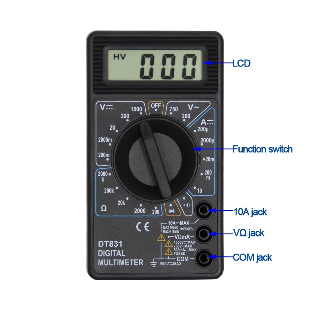 Digital Multimeter For Voltage Test Dt 830d With Buzzer China Wholesale Multifunctional Circuit Tester Detector Pen Size 126 X 70 29mm Product Net Weight Around 128g Coloryellow Black Accessoriestest Leadsbattery Manualgift Box Multifunction Socket