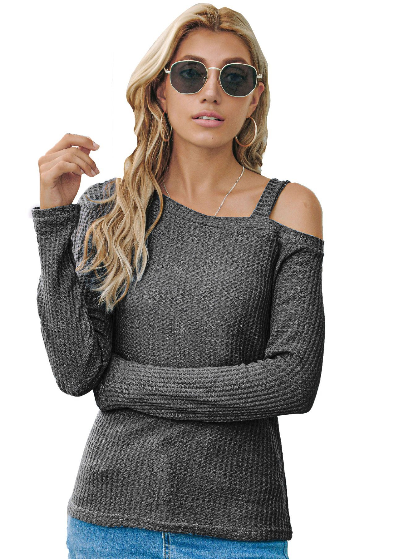 WomenS Off Shoulder Chunky Sweater Dress Ladies Baggy Long Sleeve Jumper Tops