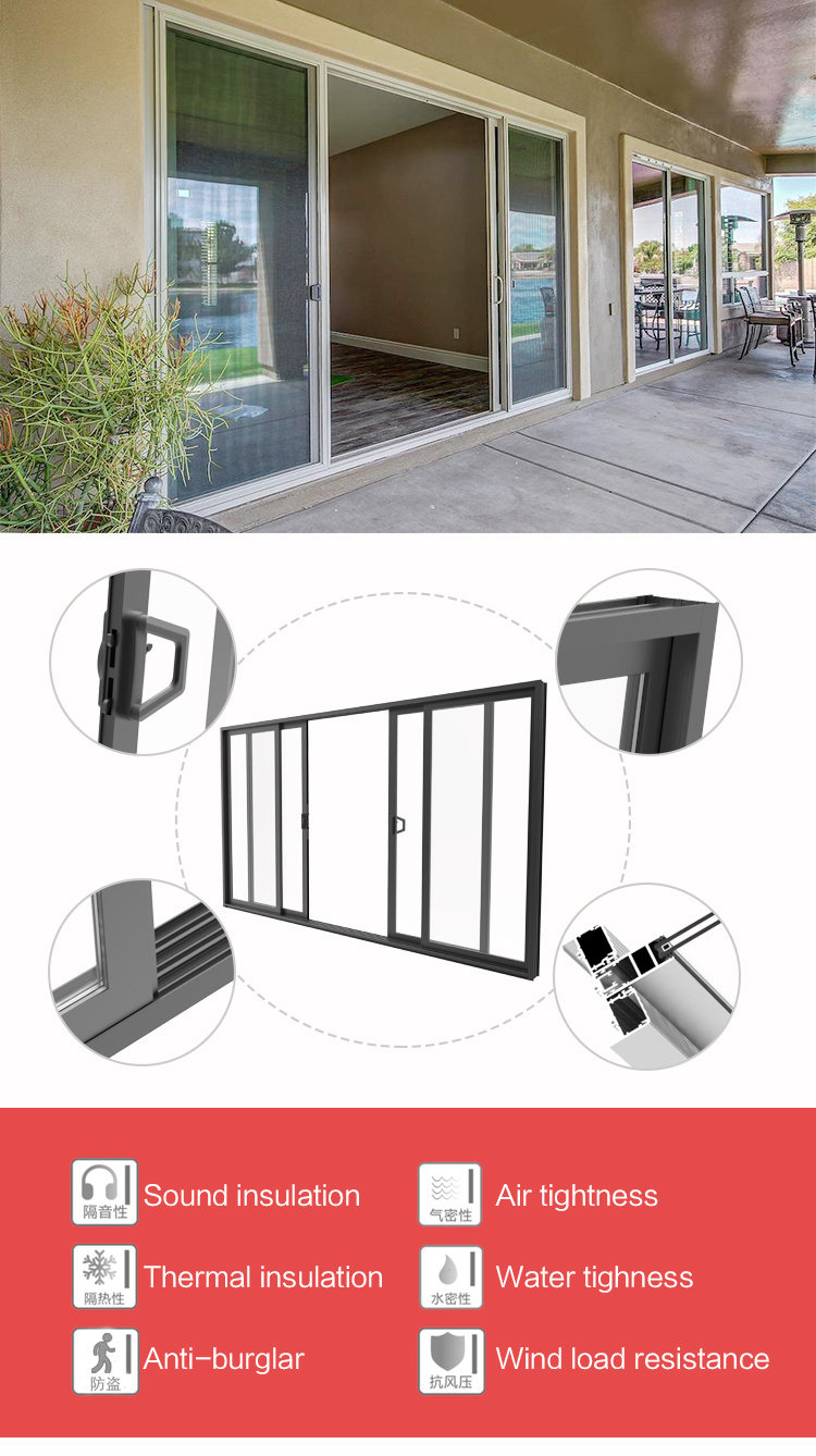 Commercial Double Glass Waterproof Aluminium Profile Used Sliding