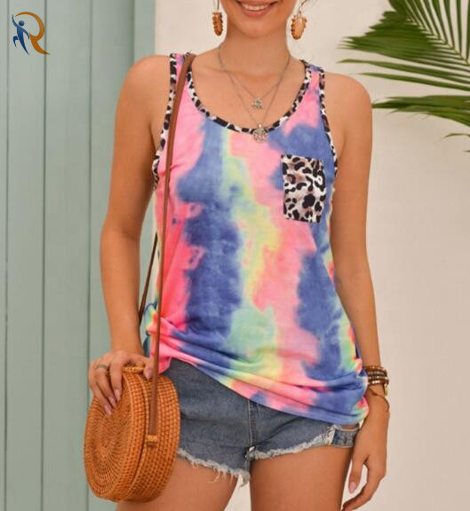 Women Tie Dye Mesh Tank Tops Summer Sleeveless Vest Shirt Slim Blouse Camisole