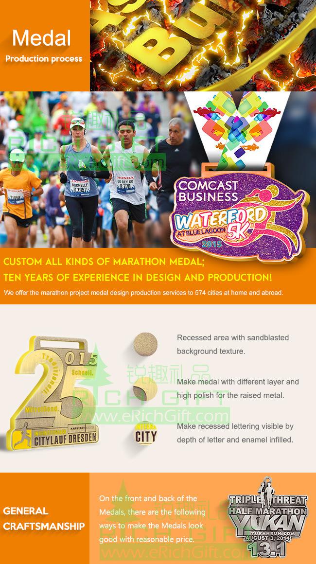 China Manufacturer OEM Accepted Custom Metal/Running/Sports/Gold/Marathon/Award/Souvenir Medal No Minimum