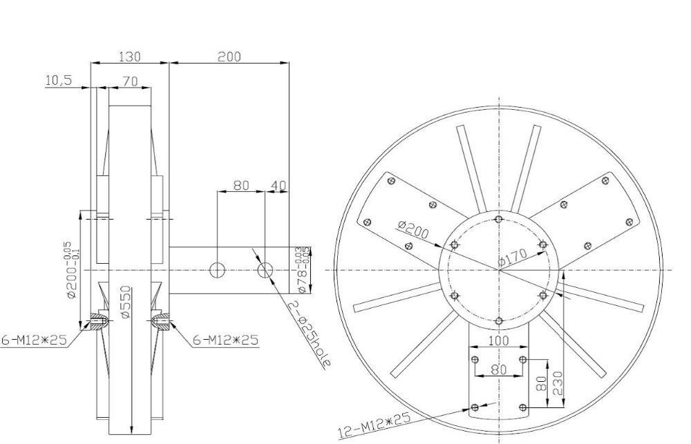 Pmg550 1 5kw 220vac 100rpm Vertical Disc Wind Turbine Generatoar