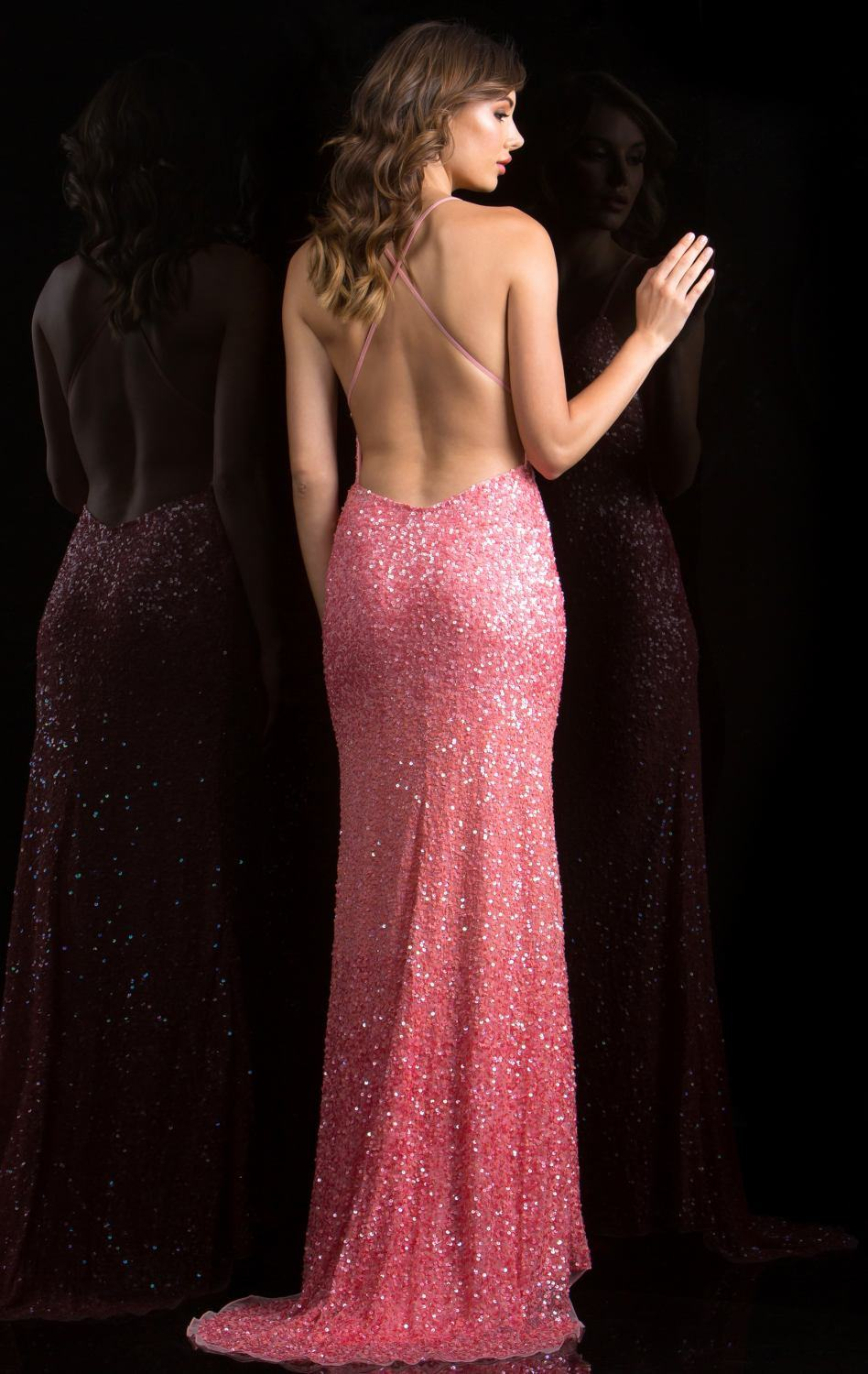 Pink Cocktail Dress Evening Gown Sequins Glitter Prom Dress C48848