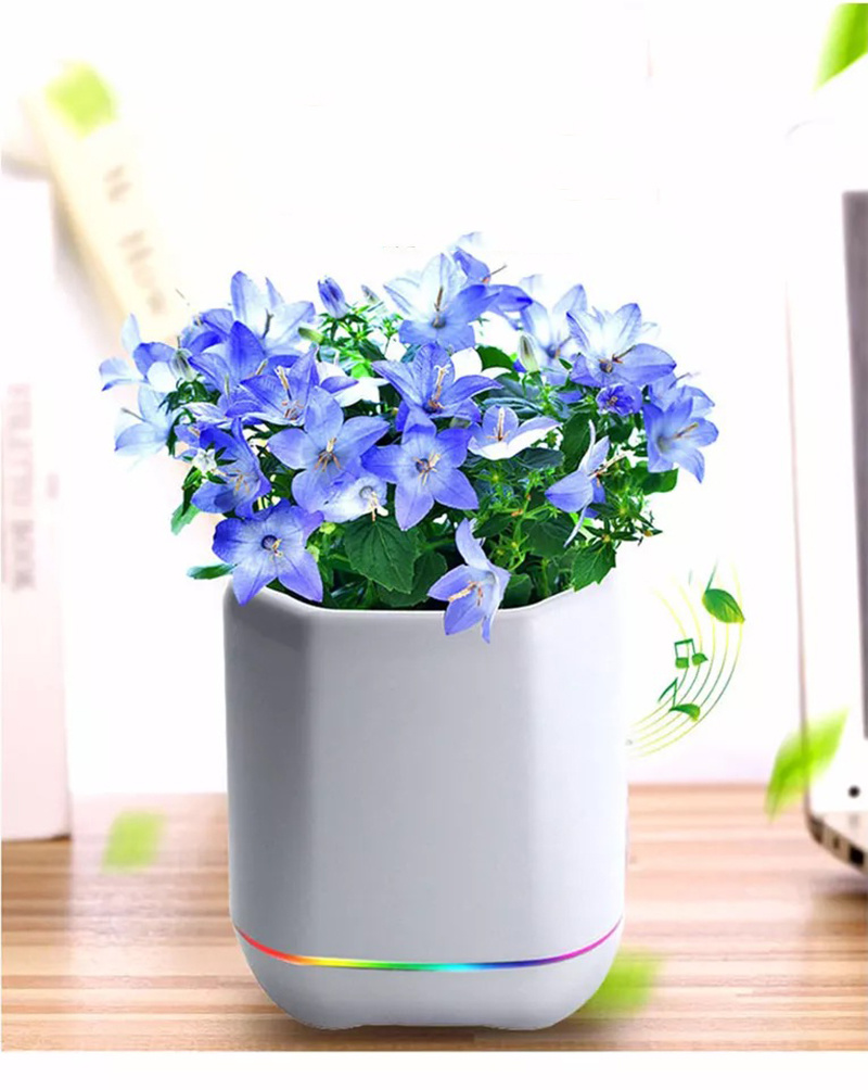 Smart Music Flower LED Bluetooth Flowerpot Desk Decoration Sing Intelligent Plantpot Poetic Piano Music Speaker