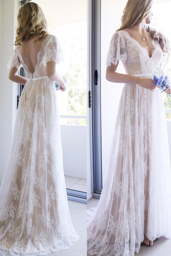 c601a779ee248 Lace V-Neck Bridal Gowns Blush Nude A-Line Wedding Dresses Z8013 ...
