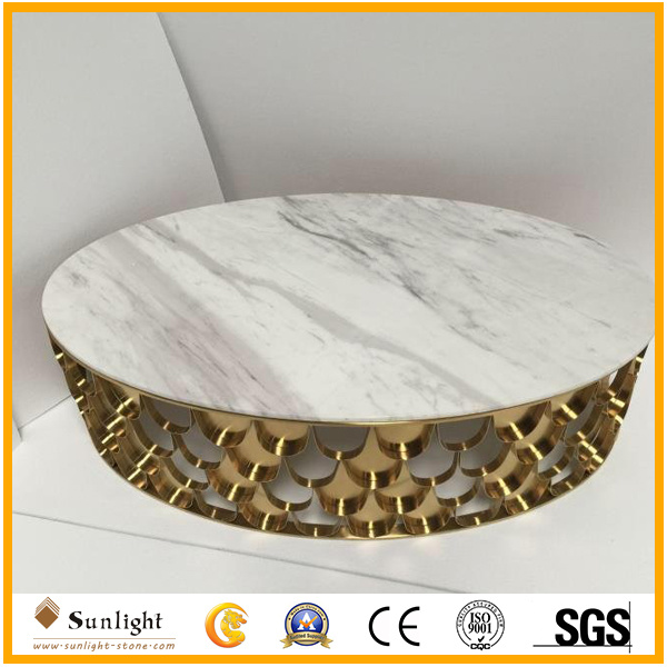 Popular Round White Marble Coffee Table With Stainless Steel Frame