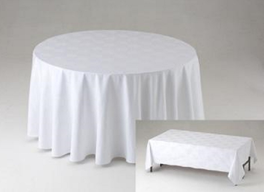 Round Table Cloths White Polyester, Round Table Cloths