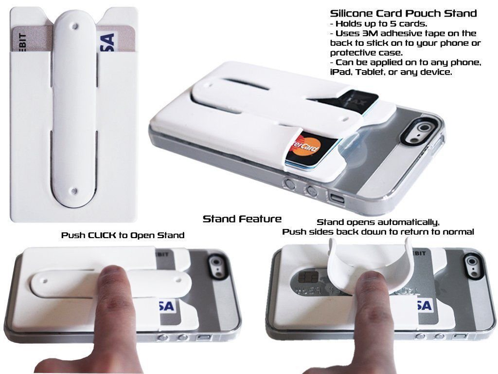 info for fd3a9 47550 [Hot Item] Useful Silicone Stick Credit Card Holder Slot Stand Shell Case  for Smart Phone