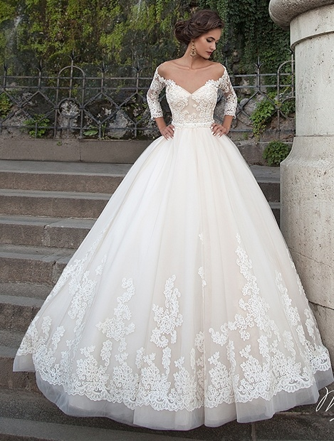 Stock White Bridal Gowns 3/4 Sleeves A-Line Organza Lace Wedding ...