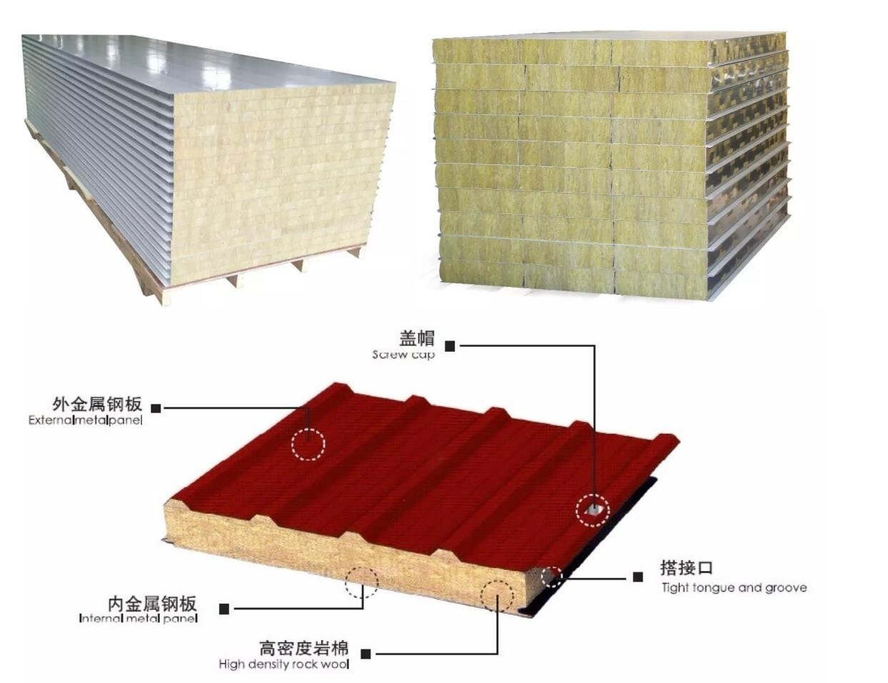 Construction Material PU/PIR/Rockwool/Glasswool/EPS Sandwich Panel for Steel Structure Wall and Roofing From Gilfor