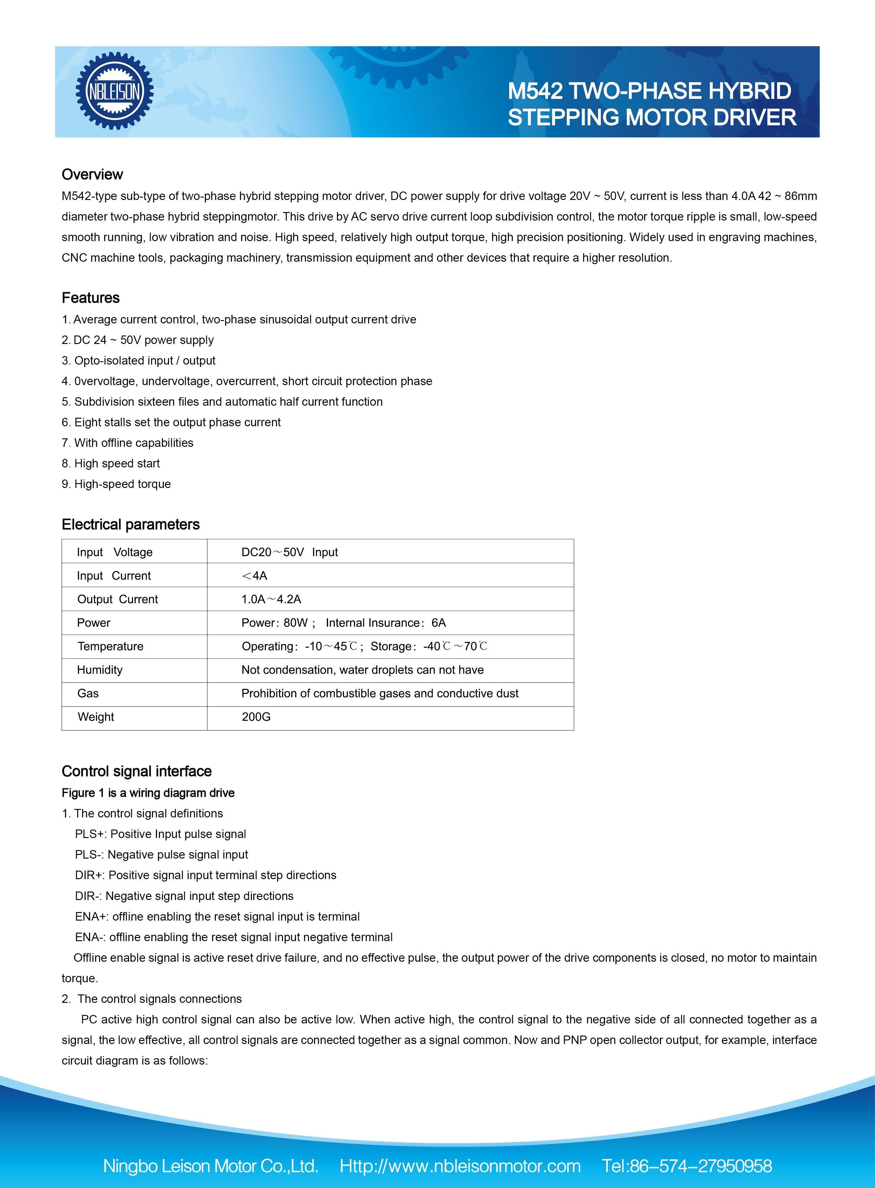 M542 20 50 Volt Stepper Motor Driver For Nema23 Nema34 China Circuit Drive Specifications