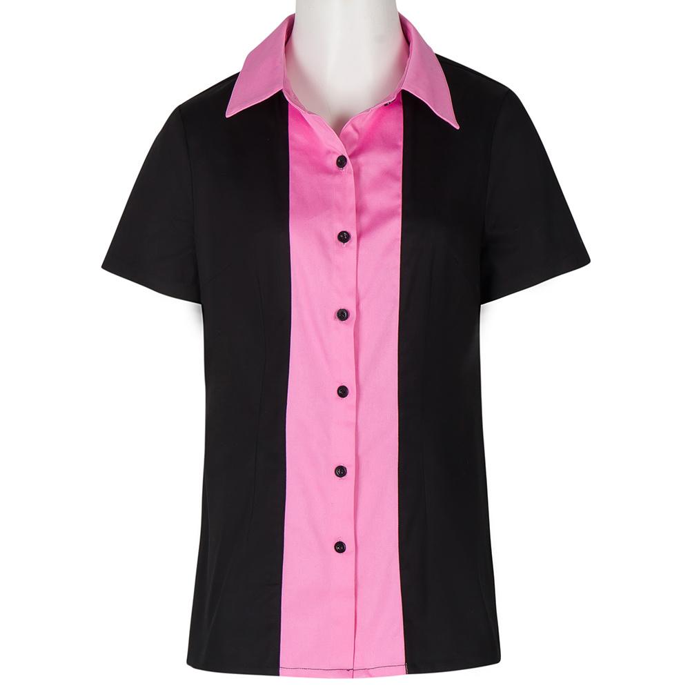 Wholesale Custom Pink Splicing Womens Button Down Shirts Work