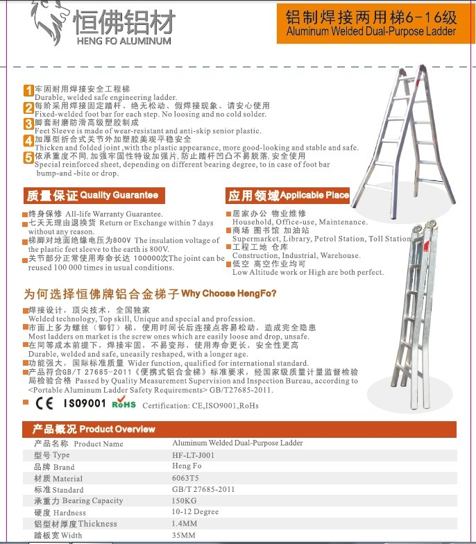2*10 Welded Dual-Purpose Ladder Aluminum Ladder