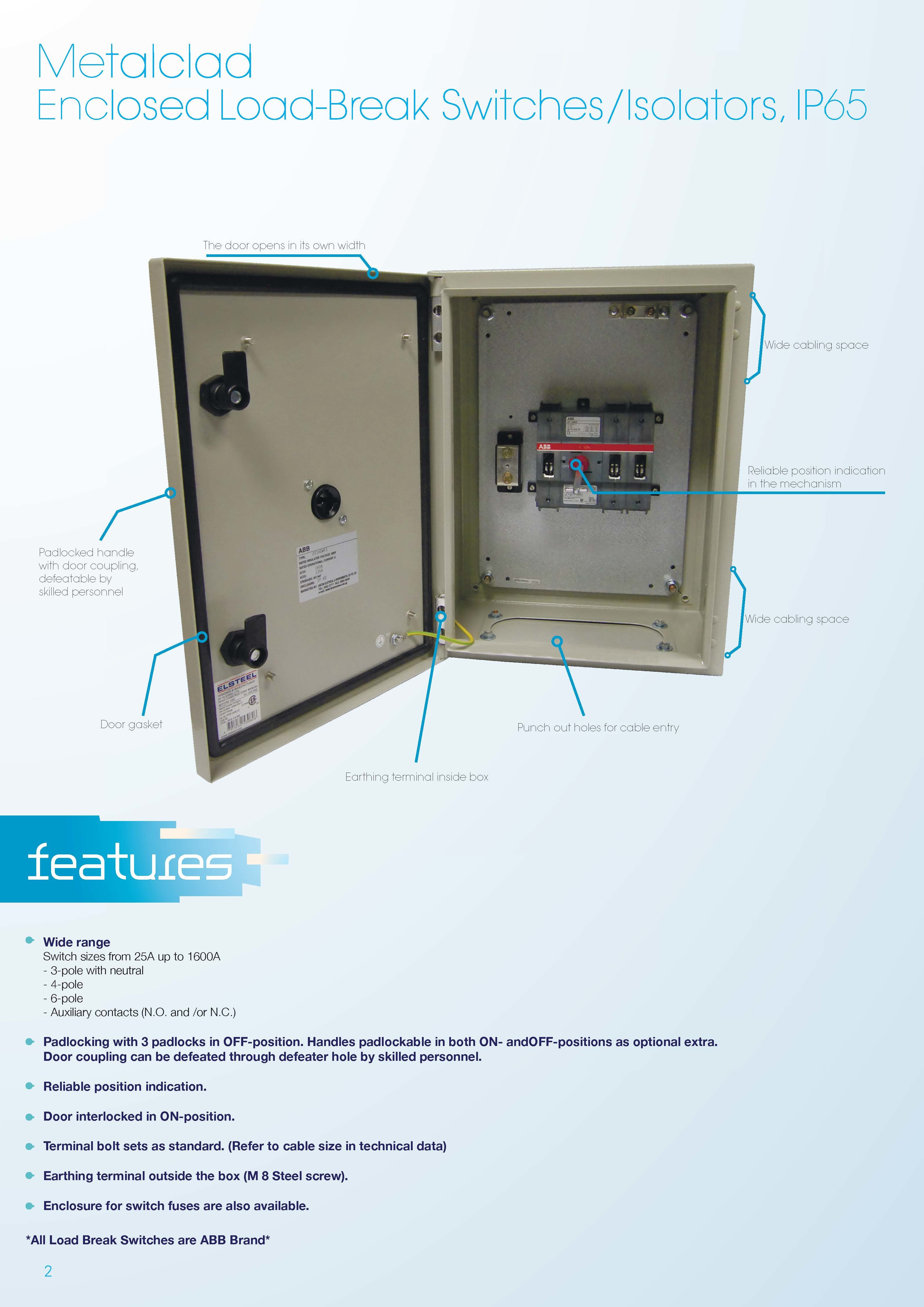 40a Isolator With Metalclad Enclosure Weatherproof Ip65 Switch Between Disconnectors Load Switches And Circuit Product Description