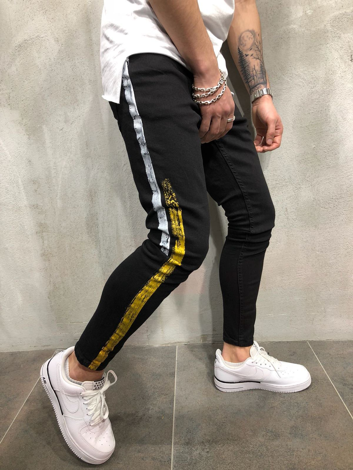 High Street Trend Men S Jeans Fashion Slim Printed Pants Men S Trendy Pants China Denim Jeans And Fashion Jeans Price Made In China Com
