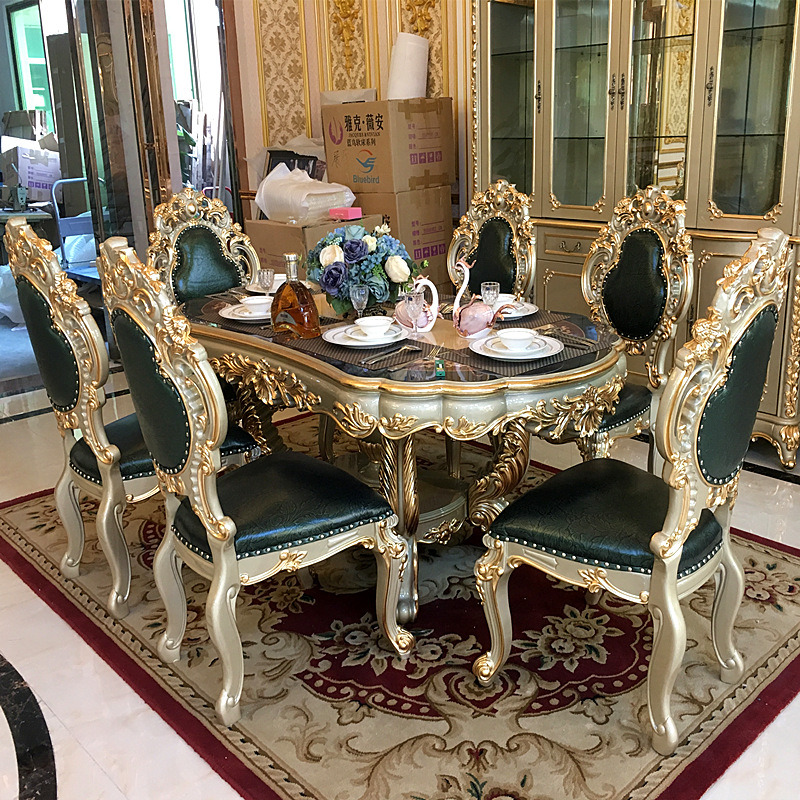 6 Chairs Marble Round Dining Table Set, Round Kitchen Table Set With 6 Chairs