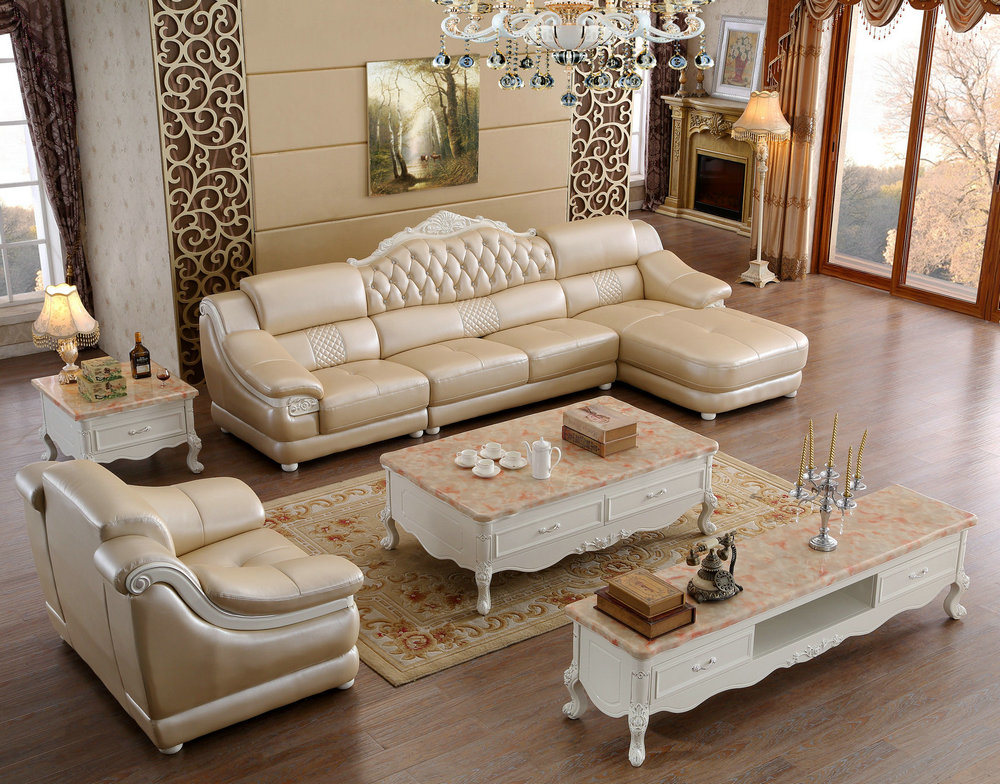 Royal Style L Shape New Classic Home Furniture Leather Sofa 6020