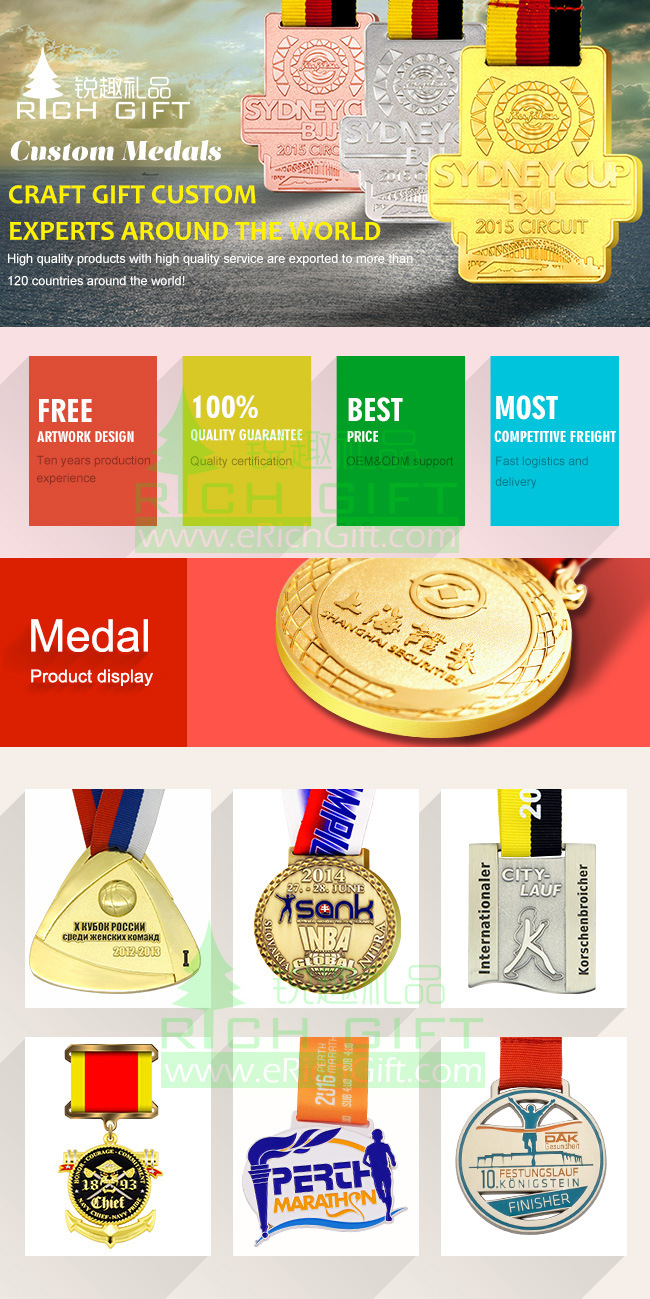 China Manufacturer OEM Accepted Custom Metal/Running/Sports/Gold/Marathon/Award/Souvenir Medal No Minimum