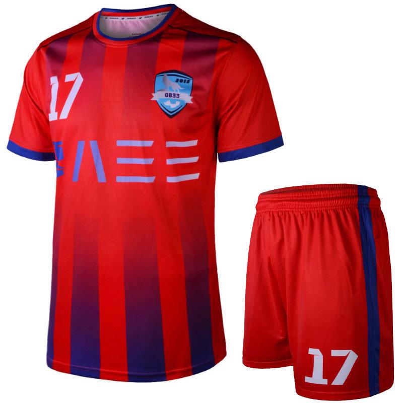Custom vermelho azul se sublima uniformes de futebol com logotipo ... 50456bddc5eb8