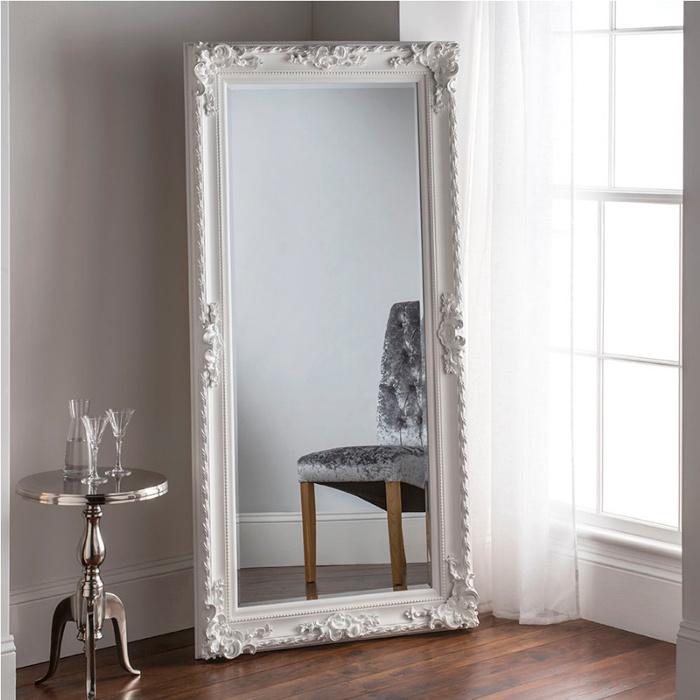 Large White Floor Wall Baroque Wooden, Oversized White Leaner Mirror