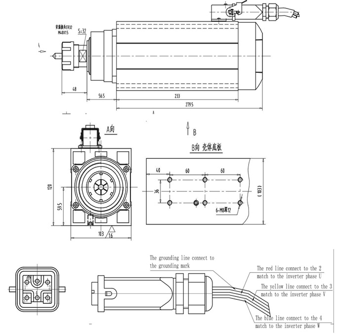 6kw 380V Air Cooled CNC Spindle Motor with Flange for Wood CNC Router Machine (GDZ120X103-6)