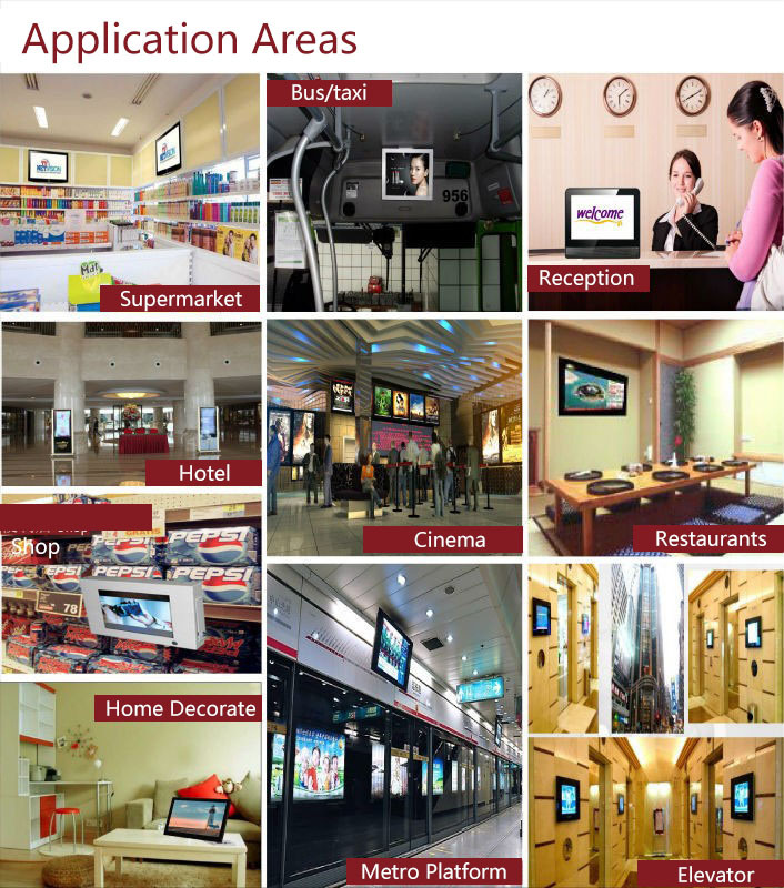 Bulk Advertising Wall Mount Touch Screen Digital Signage with Remote Control