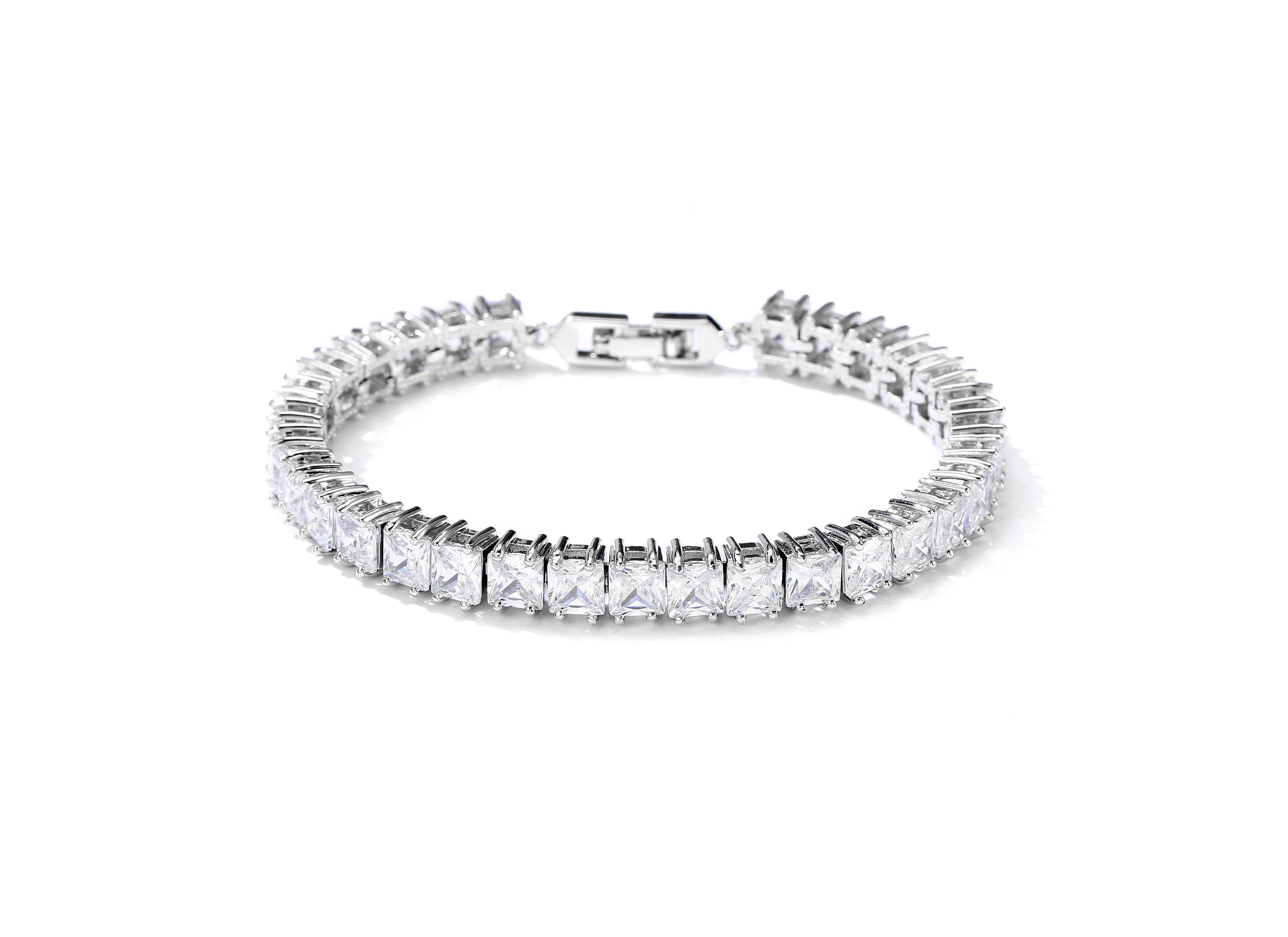 6fba882d8ad24 [Hot Item] Square Princess Cut White Cubic Zirconia Tennis Bracelet 18K  Whtie Gold & Rhodium Plated Silver