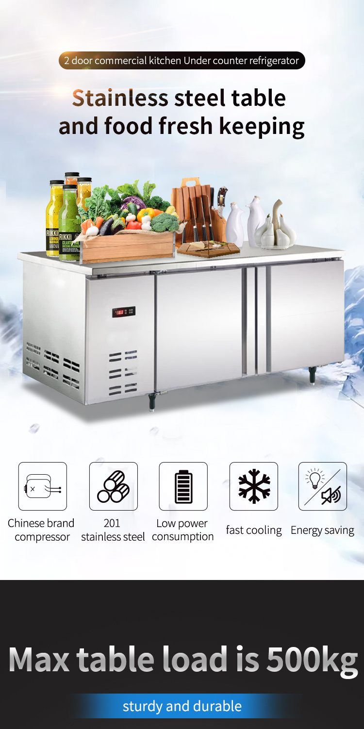 Commercial Stainless Steel Counter Top Refrigerator Freezer Workbench