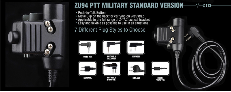 Z113 Z-Tactical ZU94 Military Standard PTT Motorola 2-Way Version