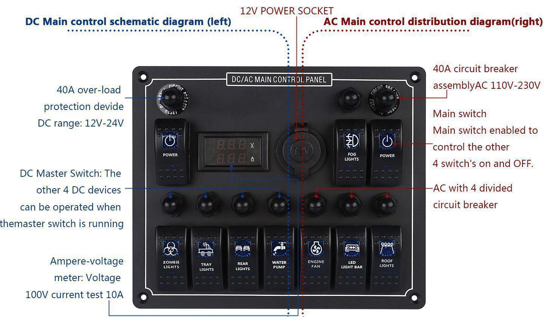 New 10 Gang Waterproof Car Auto Boat Marine Led Ac Dc Rocker Switch Double 12v Wiring Diagram 1 X Blue Panel 7 Screws