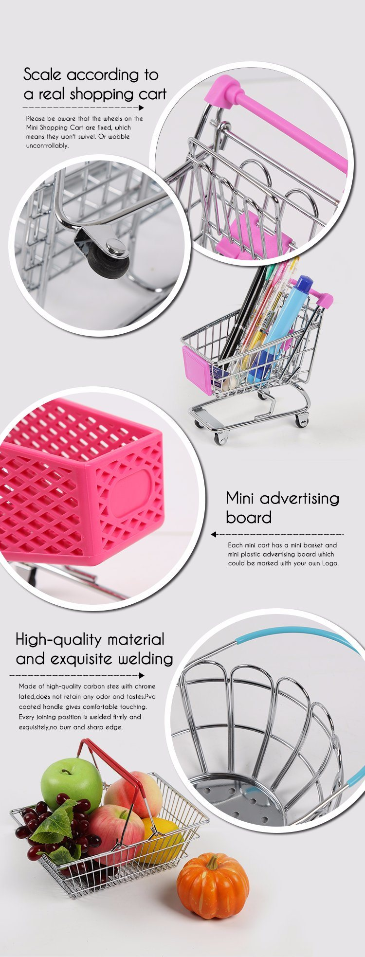 9f2d4d838cdf [Hot Item] Stainless Steel Mini Supermarket Shopping Trolley Storage Cart