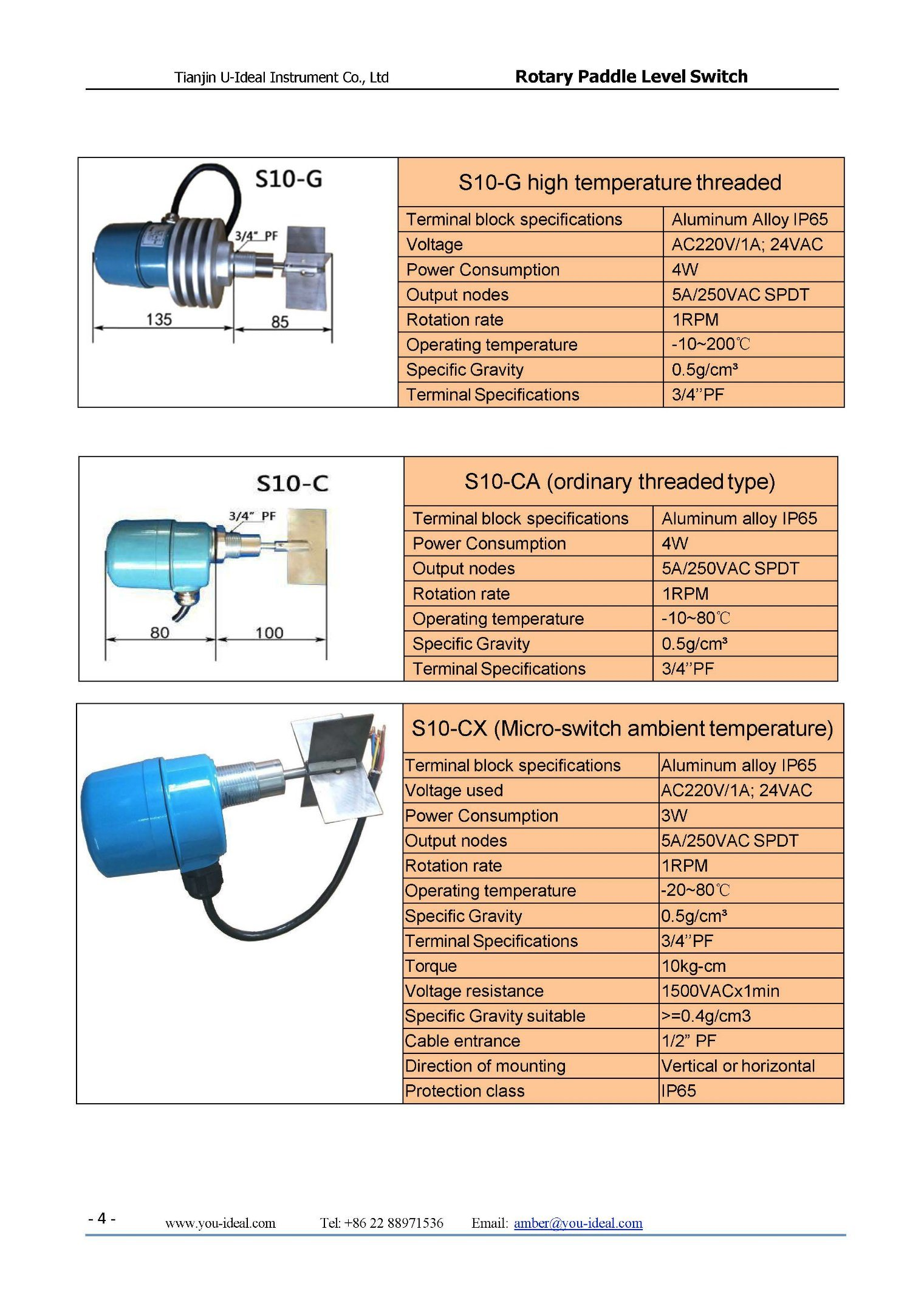 Rotary Paddle Level Sensor Switch For Silos China Spdt Float Wiring Diagram Pictures And Description Of Different Models