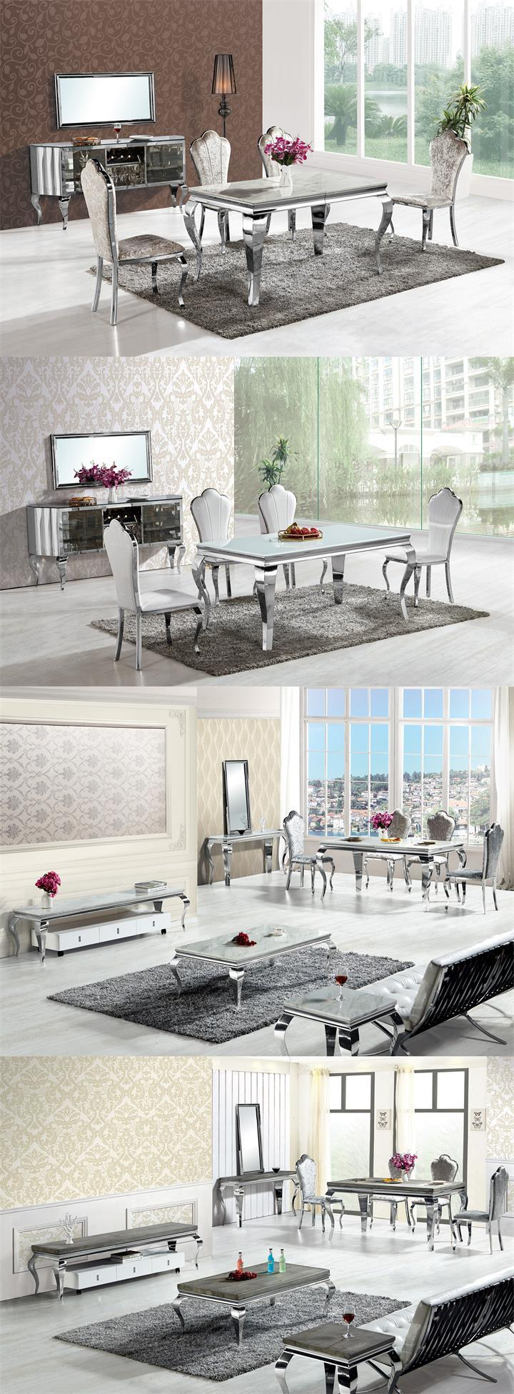 Classic Dining Room Furniture Glass/Wood/Marble Top Stainless Steel ...