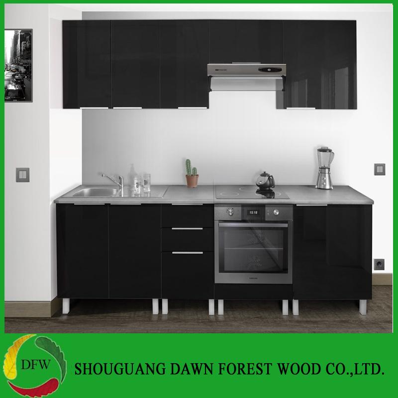 Gloss Black Kitchen Cabinets: 부엌 서랍 내각을%s 가진 기본적인 내각 부엌 찬장, High-Gloss 래커 검정 색깔 부엌 찬장