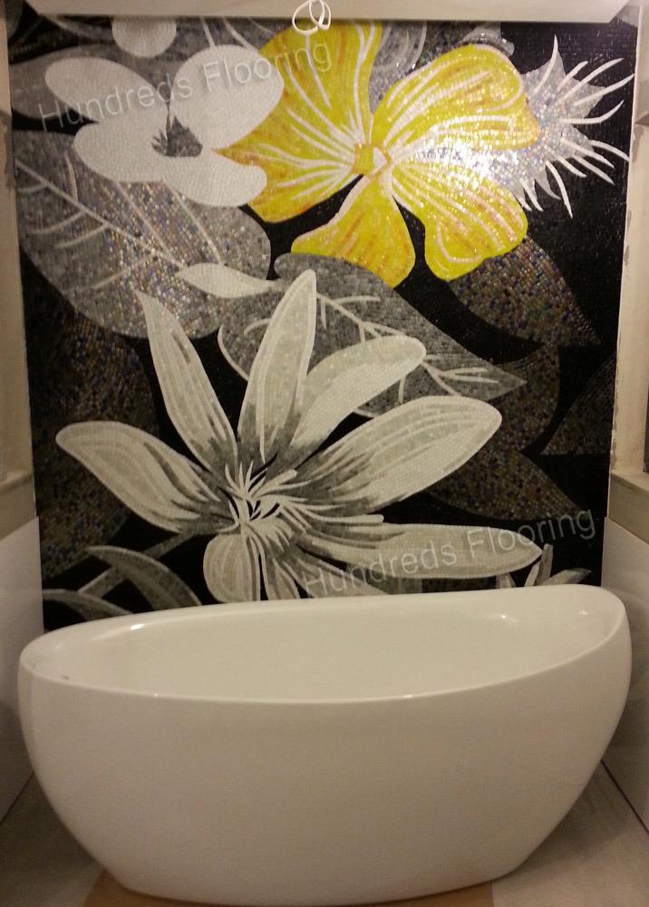 peinture murale fleur motif en mosa que de verre art mosa que pgh701 peinture murale fleur. Black Bedroom Furniture Sets. Home Design Ideas