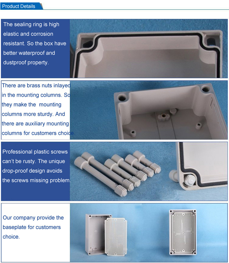 240*160*120 Outdoor Electrical Cable Box Clear Cover Plastic Waterproof ABS  IP66 Junction Box