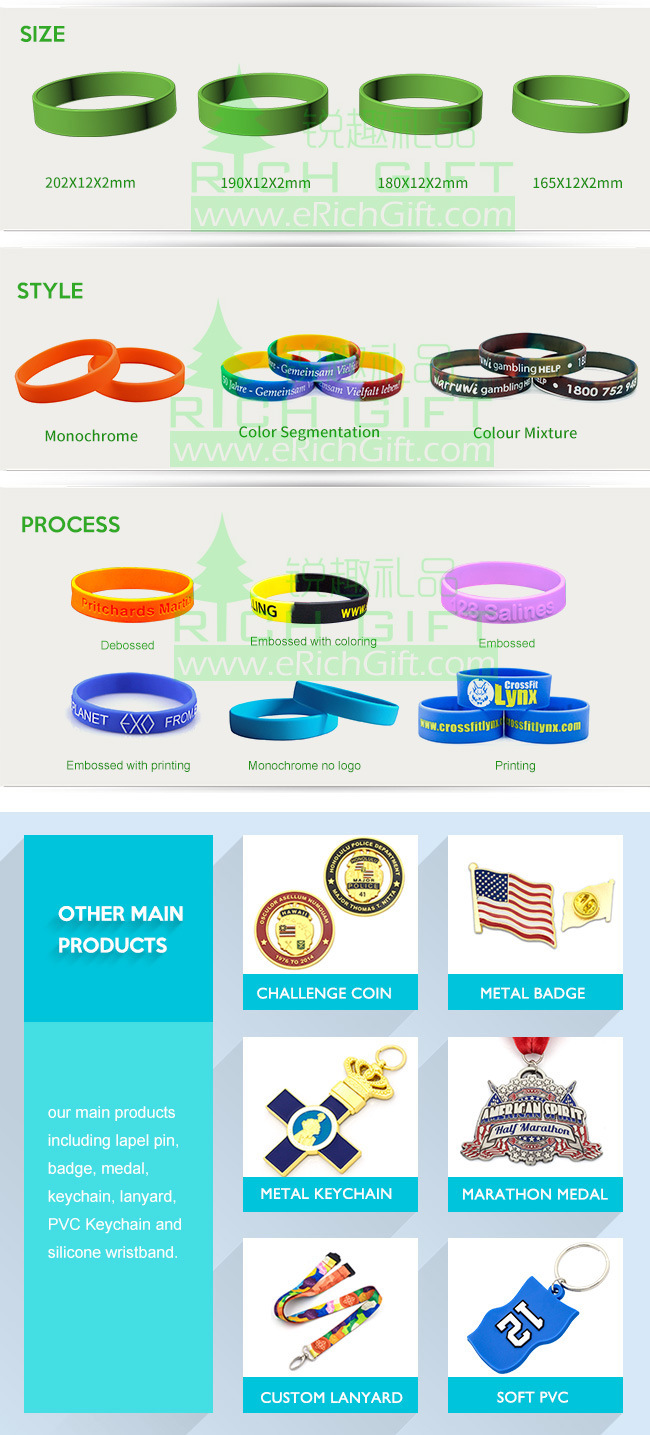 Manufacturer Custom Fashion Debossed Silicone Rubber Wristband Bracelet for Promotional Gift