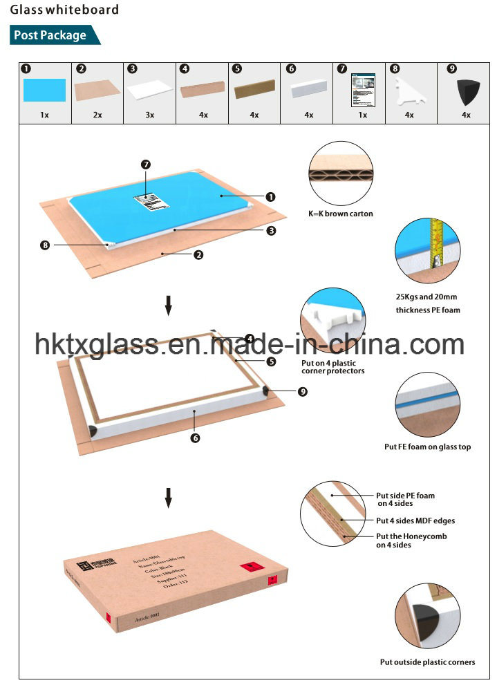 High Quality Kids Writing Glass Whiteboards with En12150 Asnzs2208 BS62061981