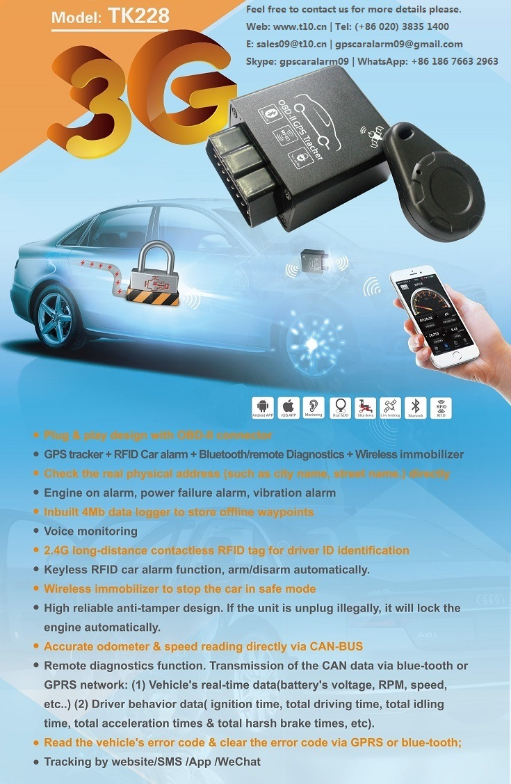 OBD2 Car Diagnostic Tool with Bluetooth Interface, Microphone, Immobilizer  (TK228-KH)