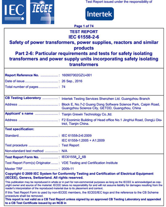 Low Loss Electrical Power Voltage Transformer with ISO9001: 2015