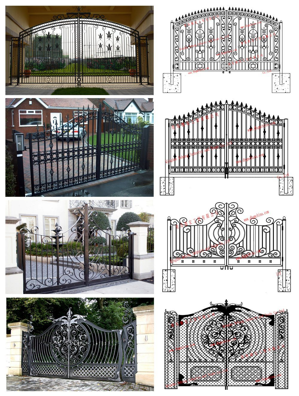 Dubai Latest Used Beautiful House Main Wrought Iron Gate Designs