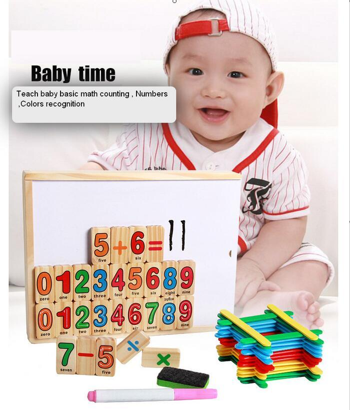 Wooden Board Magnetic Math Numbers Education Children Stick Toys ...