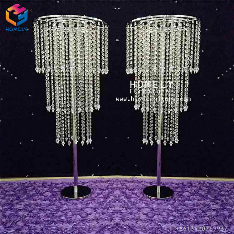 Wedding Party Candleholder Flower Stand Acrylic Crystal Chandelier