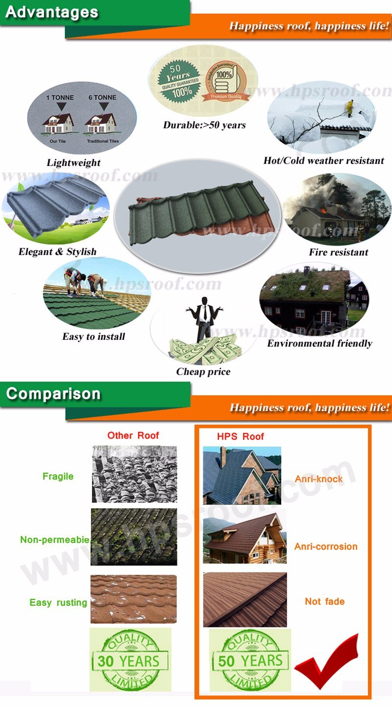 Home Decoration Building Materials Roof Tile/Stone Chip Metal Roof Tile